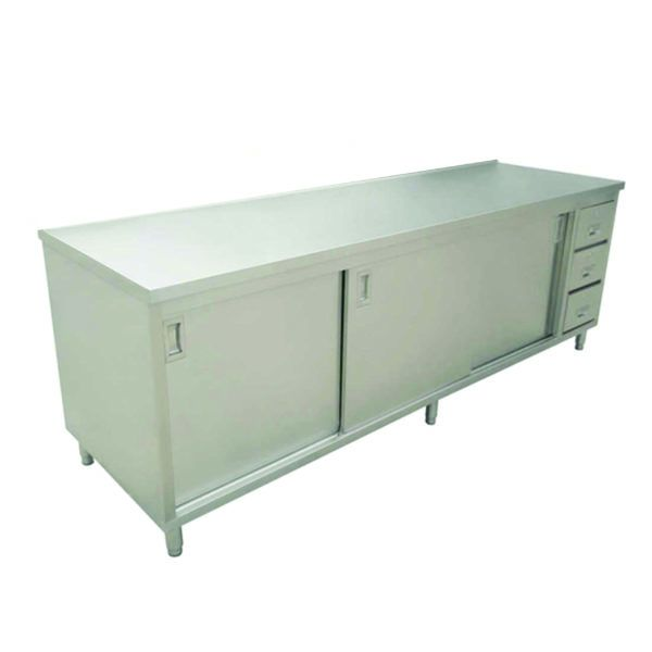 24 x 72 Stainless Steel Worktable With Cabinets And Drawers