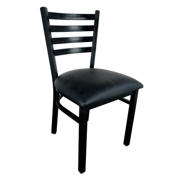 Metal Ladder Back Chair with Black Finish and Black Vinyl Seat