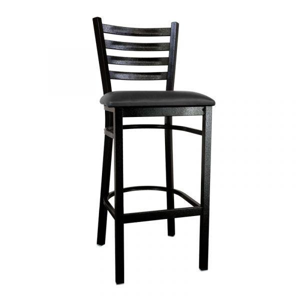 Metal Ladder Back Bar Height Chair with Black Finish and Black Vinyl Seat
