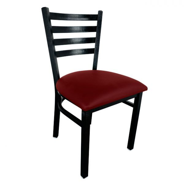 Metal Ladder Back Chair with Black Finish and Burgundy Vinyl Seat
