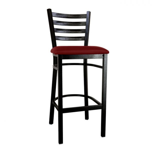 Metal Ladder Back Bar Height Chair with Black Finish and Burgundy Vinyl Seat
