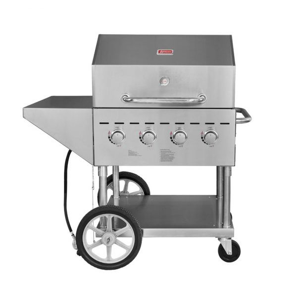 Outdoor Propane BBQ Grill with 4 Burners With Top And Side Shelves