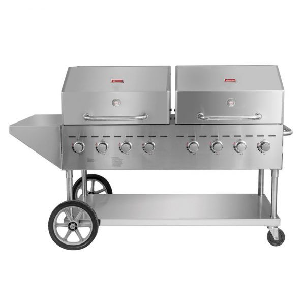 Outdoor Propane BBQ Grill with 8 Burners With Top And Side Shelves