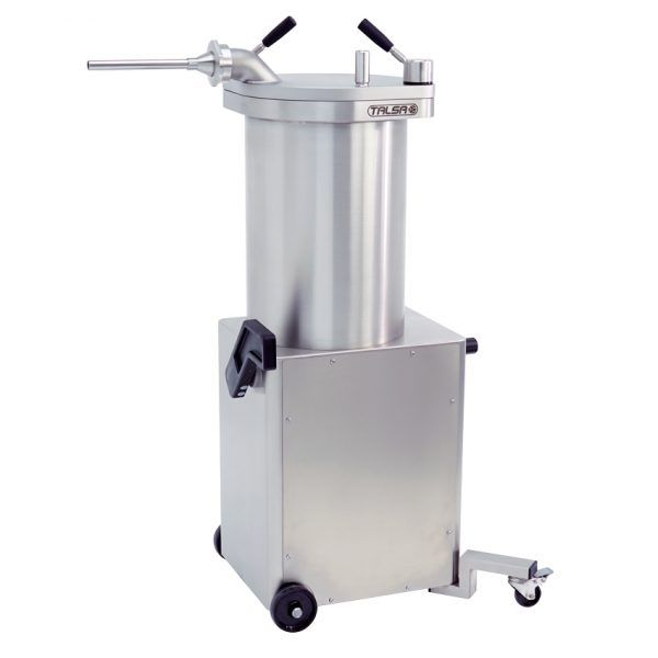 Stainless Steel Hydraulic Piston Sausage Stuffer-65 lb capacity with 2 Swivel Casters (208V-60Hz-3Ph)