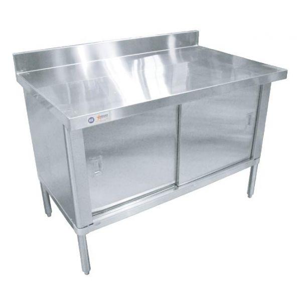 30 x 72 430 Stainless Steel Knock-down Worktable with 4 Backsplash-Flush Edge