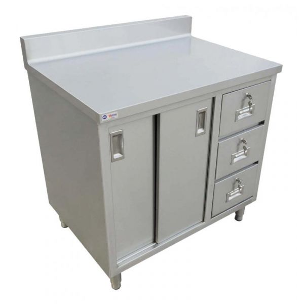 30 x 48 Worktable with Cabinet, Drawers, and Sliding Doors